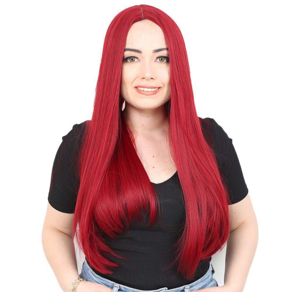 Fiber Sentetik Uzun Düz Peruk - Kızıl