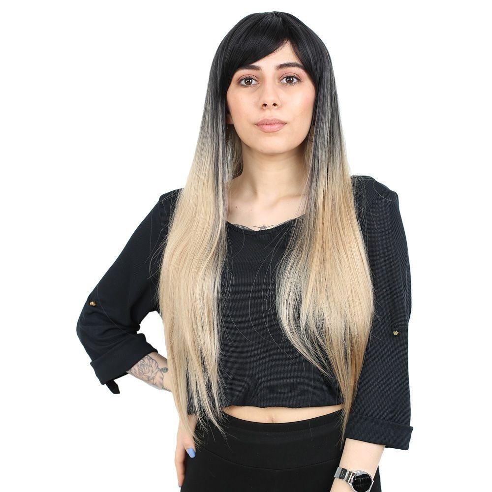 Fiber Sentetik Uzun Düz Kahküllü Peruk - Siyah / Balköpüğü Ombreli