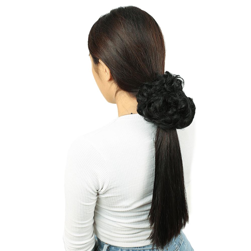 Yoğun Saçlı Lastikli Topuz Toka - Siyah