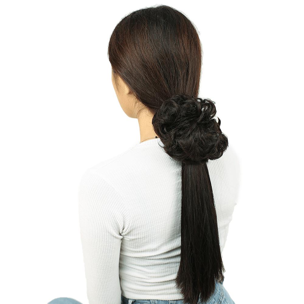 Yoğun Saçlı Lastikli Topuz Toka - Kahverengi