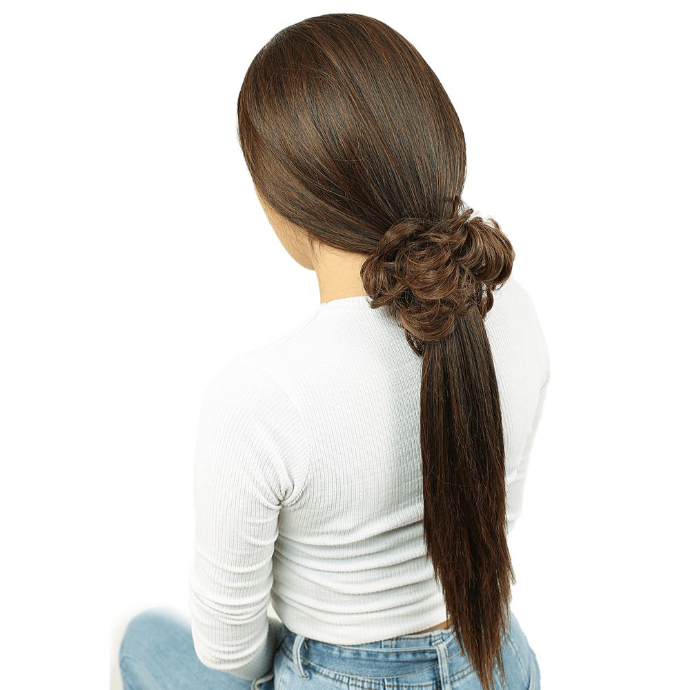 Saçlı Lastikli Topuz Toka - Karamel