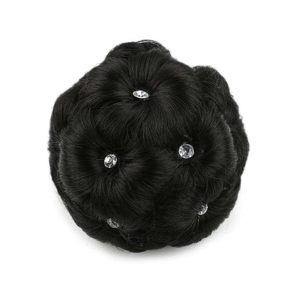 Taşlı Topuz Toka - Siyah